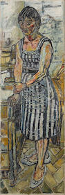 John Bratby R.A. (British, 1928-1992) Gloria with Nells' Phone Number 182.5 x 61 cm. (71 7/8 x 24 in