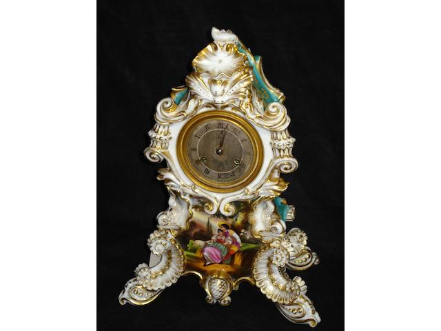A French porcelain mantel clock, circa 1880