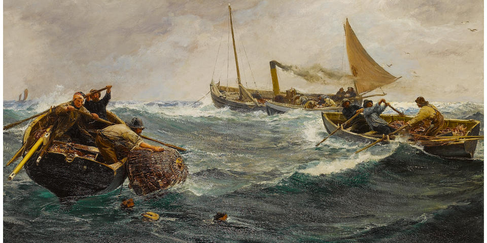 (n/a) Charles Napier Hemy (British, 1841-1917) The Crab Pots 118 x 214 cm. (46 1/2 x 84 1/4 in.)