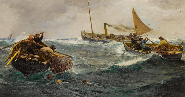 Charles Napier Hemy (British, 1841-1917) The Crab Pots 118 x 214 cm. (46 1/2 x 84 1/4 in.)
