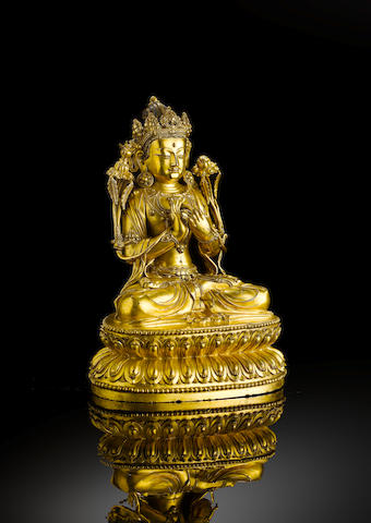 A fine and rare gilt-bronze figure of Maitreya Yongle six-character mark and of the period