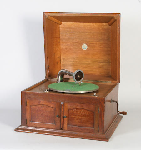 A Pathe table top oak gramophone