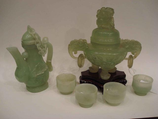 Four hardstone items, comprising: