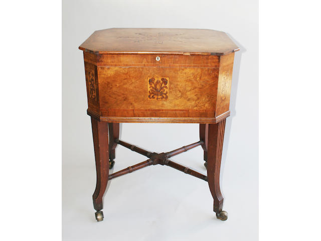 An early 19th century inlaid walnut Campanetta by Frederick Spray, Boston 1822