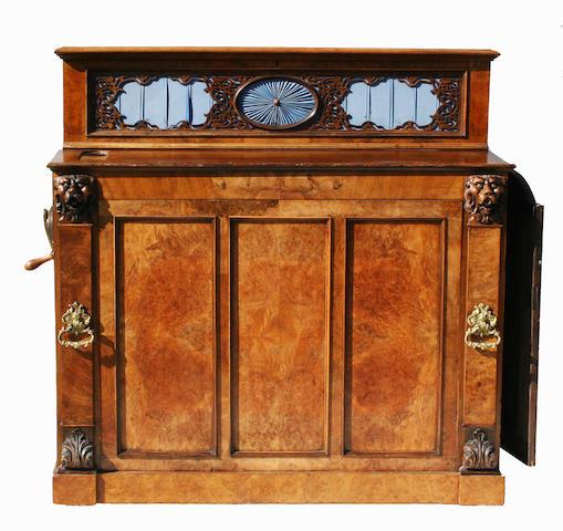 A 19th century walnut cased hand crank barrel piano organ by Imhof & Muckle
