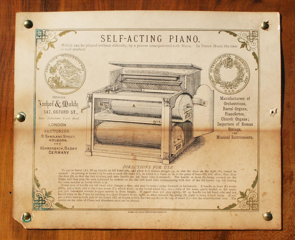 An Imhof & Muckle self acting piano