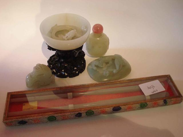 Six jade or hardstone items, comprising:
