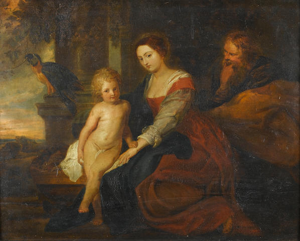 After Sir Peter Paul Rubens, 19th Century The Holy Family 37.8 x 47 cm. (14 7/8 x 18½ in.)