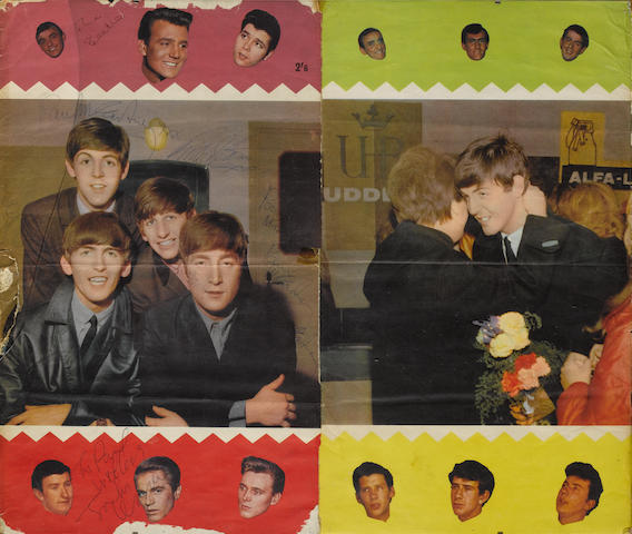 A part-poster signed by the Beatles, 1964,
