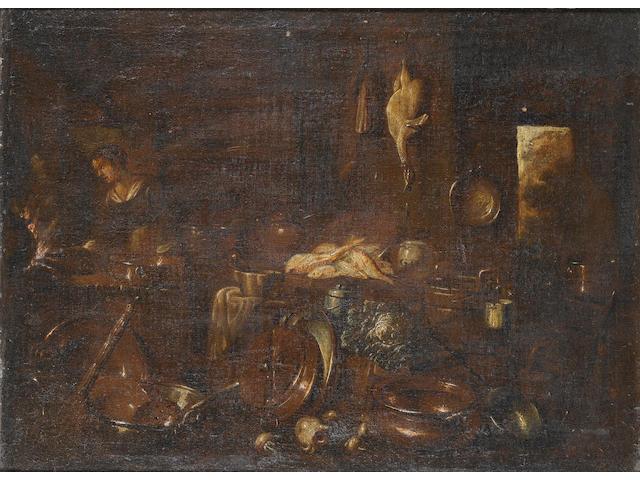 Giovanni Domenico Valentino (Rome (?) - documented Imola 1661-1681) A kitchen interior with a young woman at a stove 48.3 x 65.8 cm. (19 x 25 7/8 in.)
