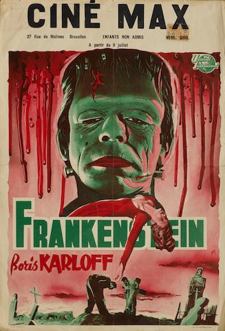 A collection of three Belgian Frankenstein related film posters, including;