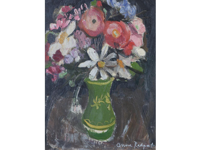Anne Redpath, OBE RSA ARA LLD ARWS ROI RBA (British, 1895-1965) A vase of mixed flowers (later 1940's)