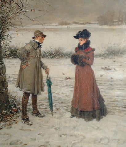 George Henry Boughton (American, 1833-1905) An uncomfortable meeting