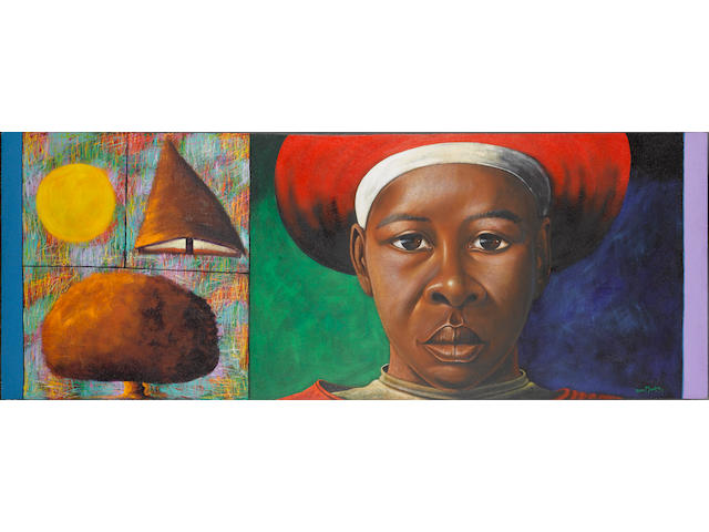 Velaphi Mzimba (South African, born 1959) Virgin Zulu 125 x 333 cm. (49¼ x 131¼ in.)