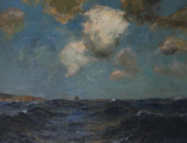 Julius Olsson (British, 1864-1942) Sailing vessel off a headland