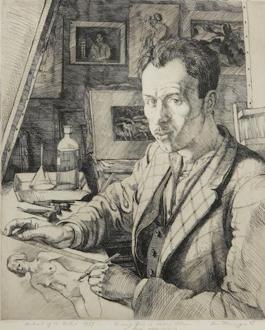 Ian Fleming, RSA RSW RWA RGI LLD HonDart (British, 1906-1994) Self portrait