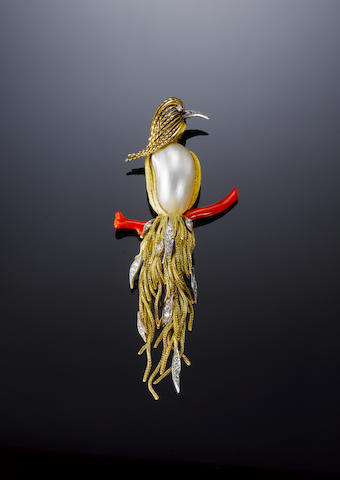 Gold, pearl, coral and diamond bird brooch, by Sterle