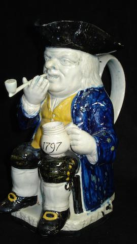 A pearlware Toby jug, dated 1797