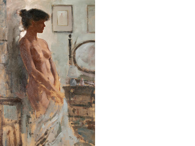 Roy Petley (British, born  1951) Nude standing before a dressing table 64.5 x 44cm (25 1/2 x 17 1/4in).