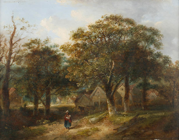 William Henry Crome (British, 1806-1873) Woodland scene with figure 23.5 x 31cm (9 1/4 x 12 1/4in).