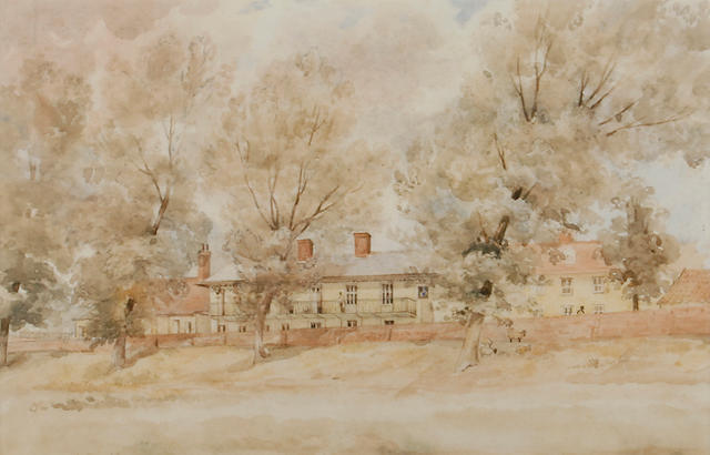 Thomas Churchyard (British, 1798-1865) Seckford almshouses from Fen Meadow, Woodbridge