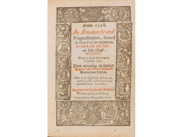 ALMANAC, 1598 FRENDE (GABRIEL) An Almanacke and Prognostication