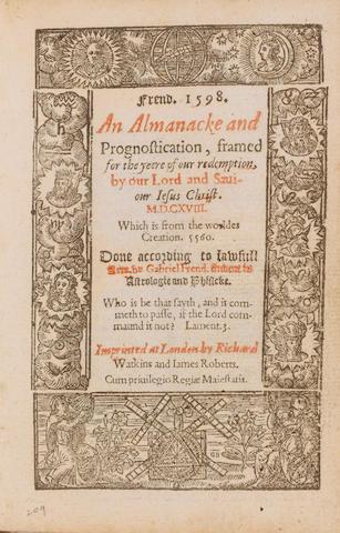 ALMANAC, 1598 FRENDE (GABRIEL) An Almanacke and Prognostication