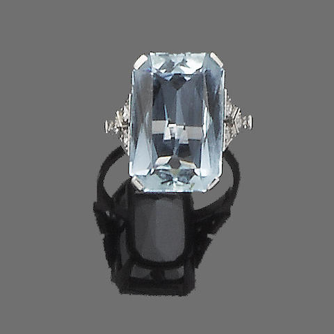 An art deco aquamarine and diamond ring,