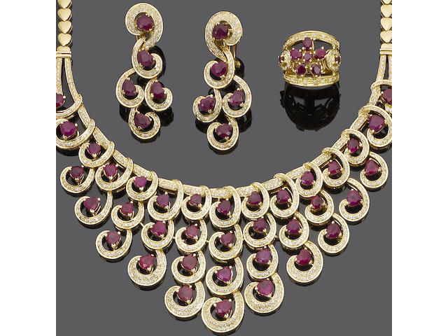 A ruby and diamond necklace and earring suite and a ruby and diamond bracelet and ring suite (4) (partially illustrated)