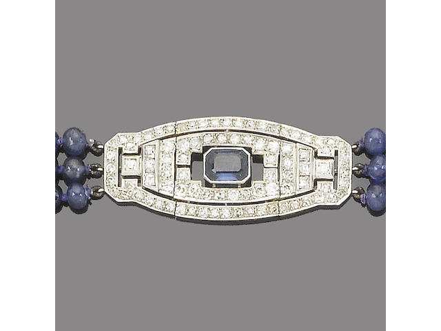 An art deco diamond and sapphire bracelet,
