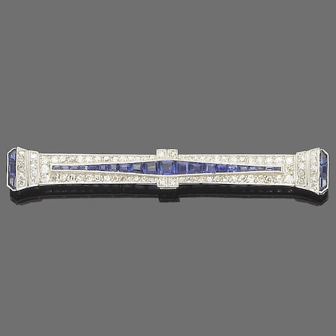 An art deco diamond and sapphire bar brooch,