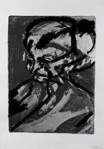 Frank Helmut Auerbach (German, born 1931) Portrait of Gerda Boehm Screenprint with photolithographc element, 1966, printed in colours, on wove, signed and numbered 49/70 in pencil, printed at Kelpra with their stamp, on the reverse, published by Marlborough Fine Art; faint creasing, 800 x 575mm (34 3/4 x 22 3/4in)(I)(unframed)