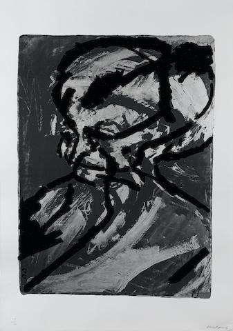 Frank Helmut Auerbach (German, 1931) Portrait of Gerda Boehm Screenprint with photolithographc eleme