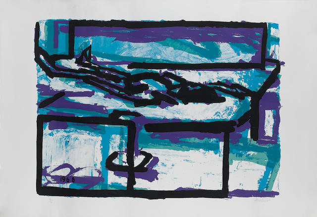 Frank Helmut Auerbach (German, 1931) Recumbent woman Screenprint with photo-lithographic element, 19