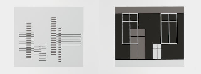 Josef Albers (American, 1888-1976) Formulation: Articulation Two complete portfolio's, 1972, with text, and 127 screenprints, printed in colours, signed in ink on the title page, numbered 884 in ink on the justification page, from the edition of 1000, published by Harry N Abrams, New York and Ives-Sillman Inc, New Haven, in the original folders and slipcases; in excellent condition, 390 x 522mm (15 x 20 1/2in)(folio)(vols x 2)