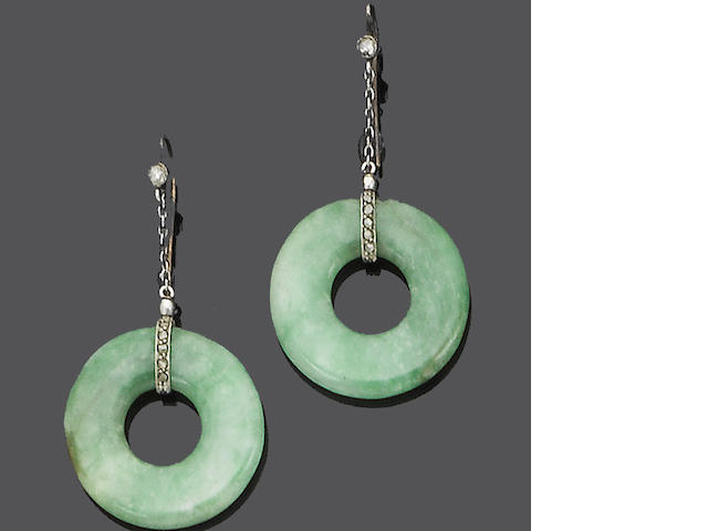 A pair of art deco jade and diamond earrings,