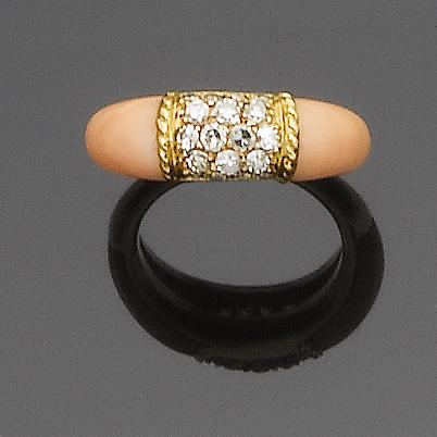 A coral and diamond band ring, by Van Cleef & Arpels
