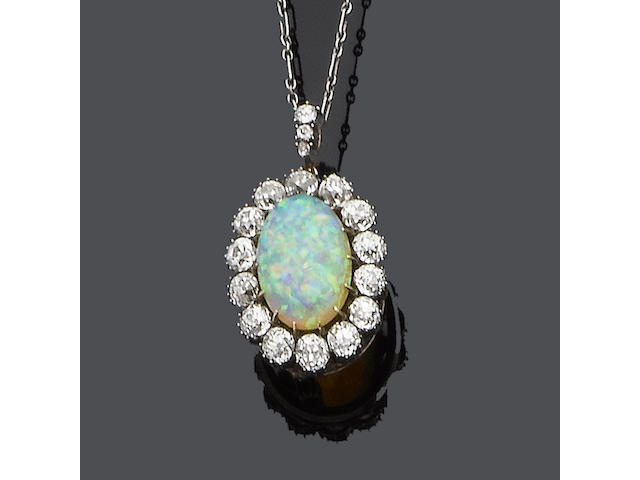 A late 19th century opal and diamond brooch/pendant,