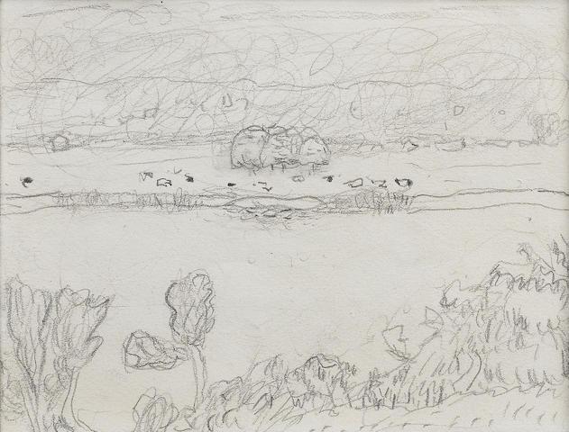 Pierre Bonnard (French, 1867-1947), c.1928 Paysage, rivière et pâturage 12 x 16 cm (4 3/4 x 6 5/16 i