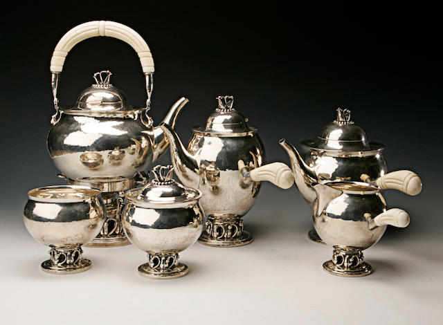 A six piece silver tea service (160)