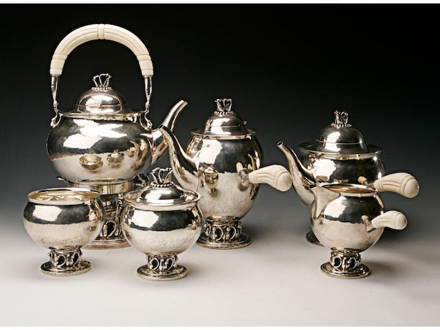 Georg Jensen a fine silver six piece tea service