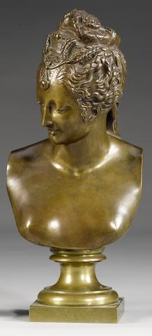 A late 19th century French bronze female bust