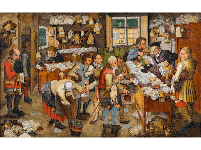 Pieter Brueghel the Younger (Antwerp 1564-1638) The Payment of the Tithes 54.2 x 86.6 cm. (21 3/8 x 34 1/8 in.) the reverse stamped with the coat-of-arms and the hands of the City of Antwerp