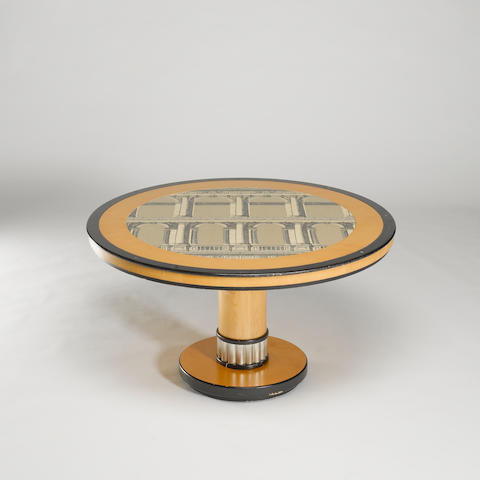Piero Fornasetti for Fornasetti Milano, a table circa 1975 with lacquered and transfer printed design
