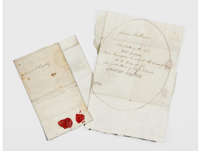 "SOUTHCOTT (JOANNA) 2 ""proclamations of faith"" dated 1803 bearing Joanna Southcott's seal, together w"