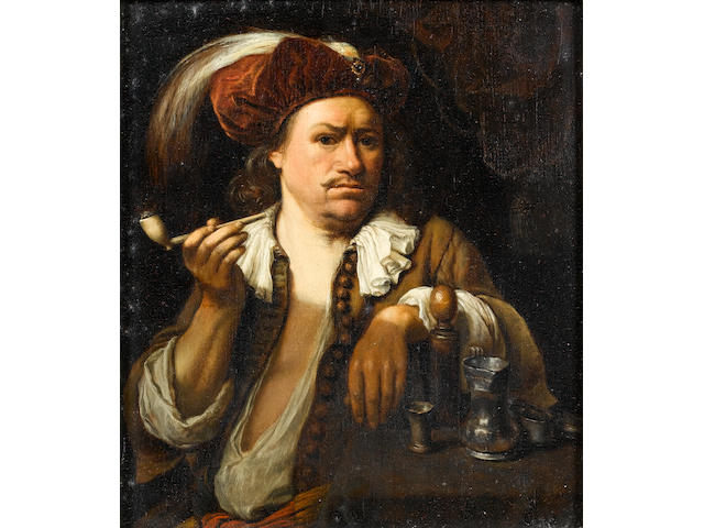 Carel de Moor (Leiden 1656-1738 Warmond) A man smoking a pipe 20.5 x 17.7cm (8 1/16 x 6 15/16in)