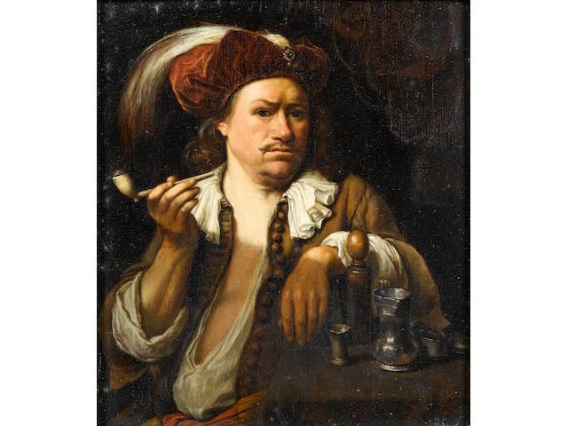 Carel de Moor (Leiden 1656-1738 Warmond) A man smoking a pipe 20.5 x 17.7 cm. (8 1/8 x 7 in.)