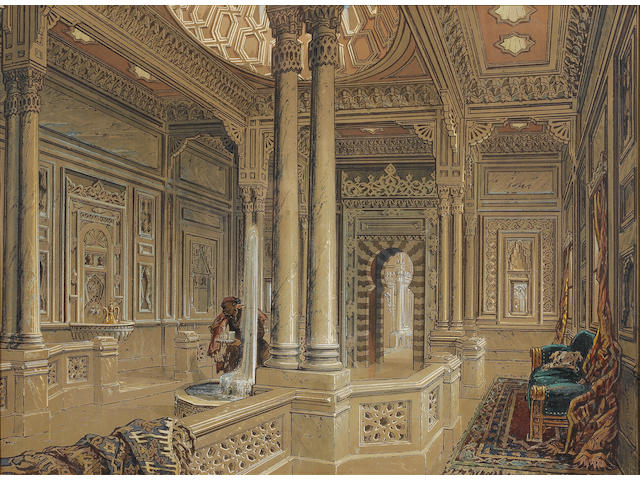Count Amadeo Preziosi (Maltese, 1816-1882) Interior of a palace reception room 44 x 60 cm. (17¼ x 23