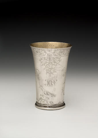 A late 17th century Dutch silver beaker, maker's mark a device(?) probably Nijmegen 1676-77,