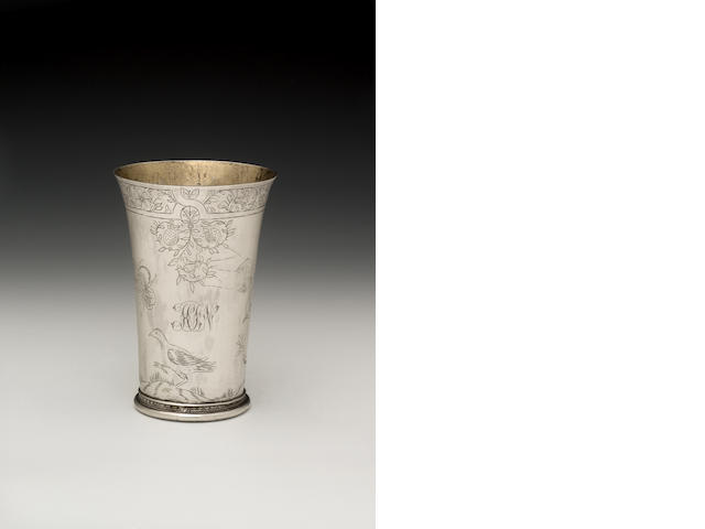 A late 17th century Dutch silver beaker, probably Nijmegen, 1676 - 77, maker's mark a device(?)